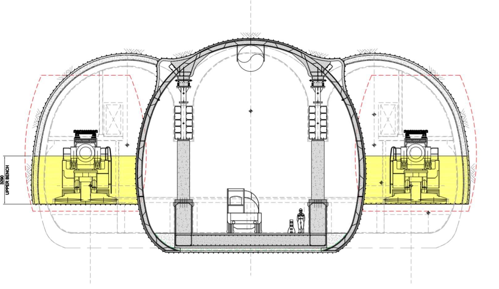 Trinocular cavern construction methodology