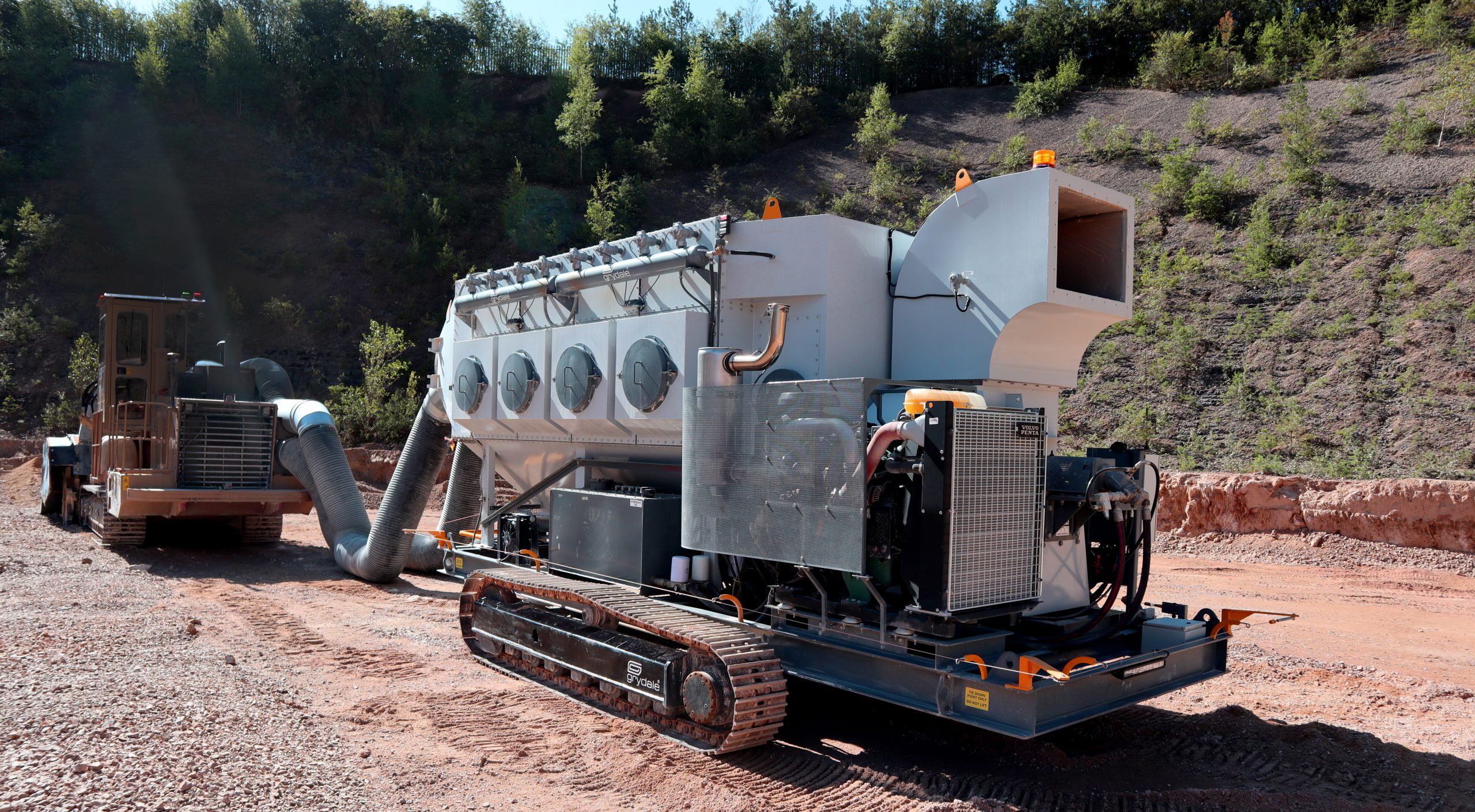 JMS-30 Mobile Dust Collector connected to Rack Hawg Surface Miner